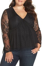 Lost Ink Plus Size Lace Overlay Blouse Black