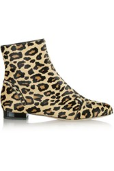 Charlotte Olympia Puss In Boots Embroidered Calf Hair Ankle Boots Animal Print