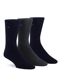 Calvin Klein Flat Knit Crew Socks Pack Of 3 Navy Graphite Heather Navy