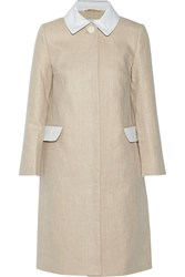 Carven Seersucker Cotton Trimmed Linen Coat Nude