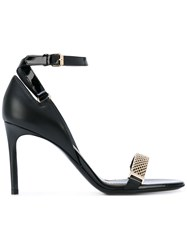 Lanvin Gold Strap Mid Stiletto Sandals Women Leather 39 Black