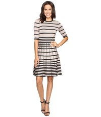 Christin Michaels Namana Striped Fit And Flare Dress Taupe Black Women's Dress