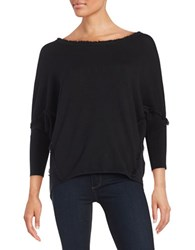 Essentiel Antwerp Loana Fringed Dolman Sweater Black Multi