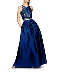 Adrianna Papell Sequined Top And Ball Gown Skirt Set Twilight