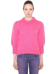 Ganni Julliard Mohair And Wool Knit Sweater Pink