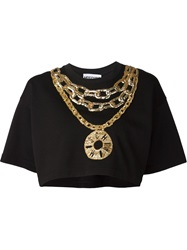 Moschino Embroidered Chains Crop T Shirt Black