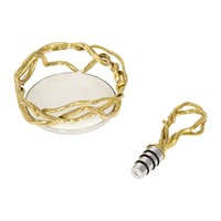 Michael Aram Wisteria Gold Wine Coaster And Stopper Set
