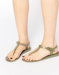 Religion Solitary Stud Toe Post Jelly Flat Sandals Green