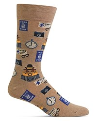 Hot Sox Travel Print Socks Hemp Heather