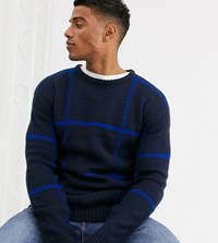 Jack And Jones Originals Large Window Pane Check Knitted Jumper In Navy
