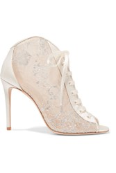 Jimmy Choo Freya Lace Up Metallic Embroidered Tulle And Satin Ankle Boots White