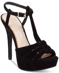 Jessica Simpson Bassie Ruched T Strap High Heel Platform Sandals Women's Shoes Black