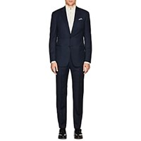 Giorgio Armani Soft Wool Silk Two Button Suit Navy
