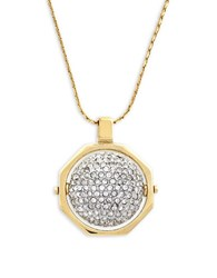 Louise Et Cie Gold And Brass Spinning Pave Ball Pendant Necklace