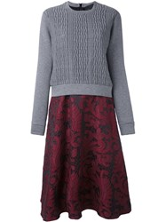 Christian Pellizzari Cable Knit Lace Dress Grey