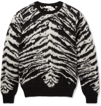 Saint Laurent Zebra Pattern Mohair Blend Sweater Black