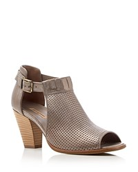Paul Green Collen Metallic Perforated Open Toe High Heel Booties Smoke