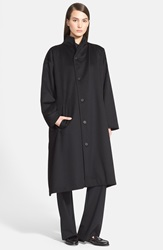 Eskandar High Neck Long Wool And Cashmere Coat Black