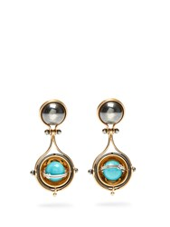 Elie Top Diamond Turquoise Silver And Gold Pluton Earrings