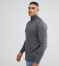 Jacamo Tall Fine Knit Jumper In Charcoal With Zip Detail Charcoal Grey