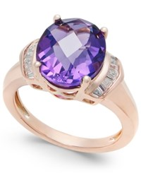Macy's Amethyst 4 1 4 Ct. T.W. And White Topaz 1 4 Ct. T.W. In 14K Rose Gold Plated Sterling Silver