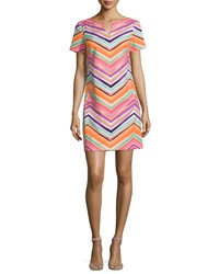 Trina Turk Striped Chevron Short Sleeve Sheath Dress Women's