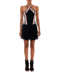 Balmain Beaded Halter Dress With Short Skirt Black White Orange