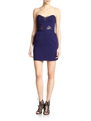 The Kooples Lace And Crepe Strapless Dress Royal Blue
