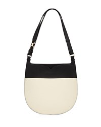 Valextra Weekend Small Colorblock Leather Hobo Bag Black Gray