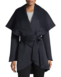 Raison D'etre Cape Sleeve Wrap Trenchcoat Navy