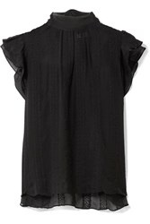 Ulla Johnson Heddy Embroidered Silk Georgette Top Black