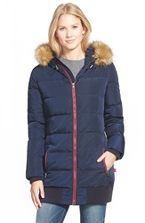 Levi's Long Puffer With Faux Fur Trim Navy
