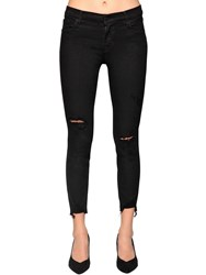 J Brand Skinny Capri Mid Distressed Denim Jeans Black