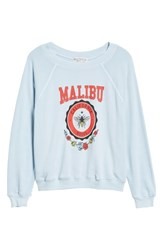 Wildfox Couture Malibu Crest Sommers Sweatshirt Pigment Saddle Blue