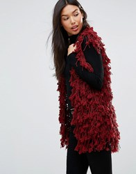 Qed London Shaggy Faux Fur Gilet Wine Red