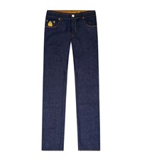 Billionaire Slim Fit Embroidered Crest Jeans Male Blue