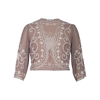 Chesca Beaded Bolero Cappuccino
