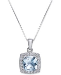 Macy's Aquamarine 2 Ct. T.W. And Diamond 1 3 Ct. T.W. Pendant Necklace In 14K White Gold