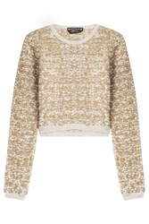 Rochas Woven Boucle Cropped Pullover Gold