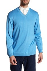 Robert Graham V Neck Long Sleeve Knit Classic Fit Sweater Blue