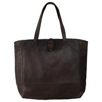 Fat Face Large Shaped Oiled Buckle Tote Bag Chocolate