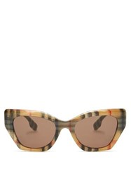 Burberry Vintage Check Cat Eye Acetate Sunglasses Beige Print