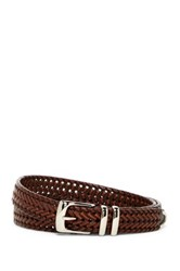 Original Penguin Bonded Leather Woven Belt Brown
