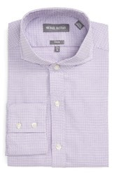 Michael Bastian Men's Big And Tall Trim Fit Geo Check Dress Shirt White Lilac Purple