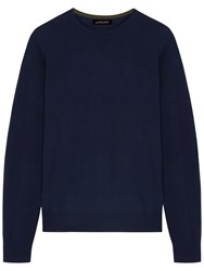 Jaeger Merino Wool Crew Neck Jumper Navy