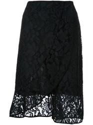 Scanlan Theodore Lace Front Wrap Skirt Black