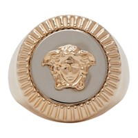 Versace Gold And Silver Guilloche Medusa Signet Ring