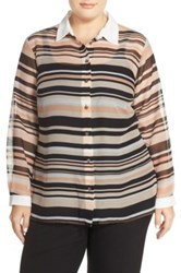 Vince Camuto 'Zen Stripe' Sheer Blouse Plus Size Pink