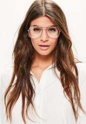 Missguided Gold Clear Lens Aviator Glasses