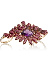 Ana Khouri 18 Karat Gold Citrine And Amethyst Two Finger Ring